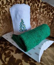 Набор полотенец 40/70 с новогодней вышивкой на выбор (елочка,мышка,дед мороз)